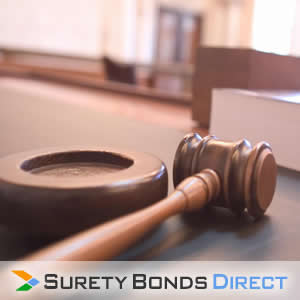Gavel. Replevin Bond for plaintiffs in a court of law to secure property from the defendant